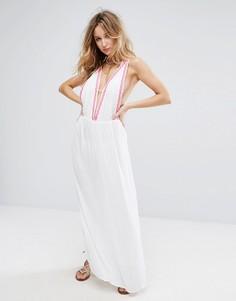Пляжное платье макси с вышивкой и монетами Liquorish - Белый