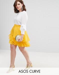 Ярусная мини-юбка ASOS CURVE - Желтый
