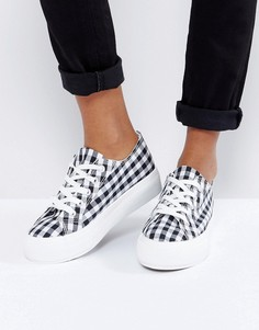 Кроссовки в клетку на плоской подошве со шнуровкой New Look - Черный