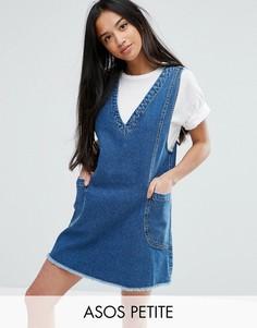 Джинсовое платье мини винтажного синего цвета ASOS PETITE Chuck On - Синий