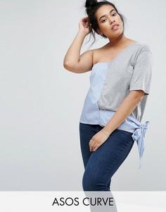Топ с открытыми плечами и отделкой в рубашечном стиле ASOS CURVE - Мульти
