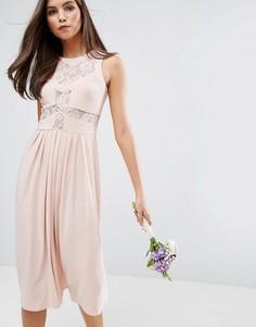 Платье миди с кружевным лифом ASOS WEDDING - Розовый