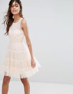Ярусное платье мини из тюля Little Mistress - Розовый