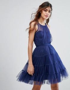 Ярусное платье мини из тюля Little Mistress - Темно-синий