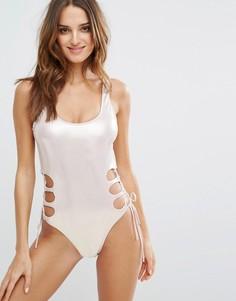 Слитный купальник с вырезами Bikini Lab - Розовый