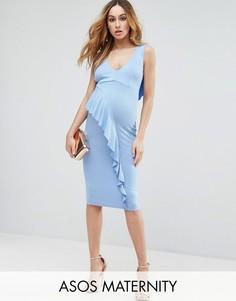 Облегающее платье миди с оборкой ASOS Maternity - Синий
