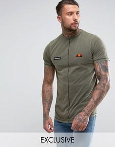 Удлиненная футболка с эффектом кислотной стирки Ellesse - Зеленый