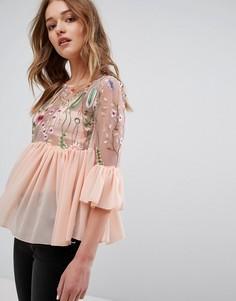 Топ с вышивкой и рюшами Parisian - Розовый