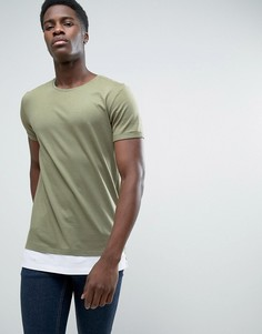 Длинная футболка с контрастным подолом Esprit - Зеленый