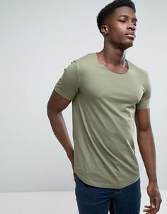 Удлиненная футболка с овальным вырезом Esprit - Зеленый