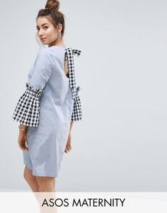 Платье из ткани шамбре с рукавами в клетку ASOS Maternity - Синий