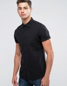 Льняная облегающая рубашка с короткими рукавами Burton Menswear - Черный