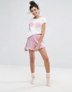 Пижамные шорты с принтом ракушек и оборками Vero Moda - Розовый