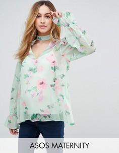 Топ мятного цвета с вырезом и цветочным принтом ASOS Maternity - Зеленый