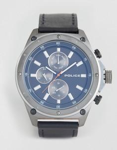 Мужские часы с черным кожаным ремешком и синим многофункциональным циферблатом Police Contact - Черный