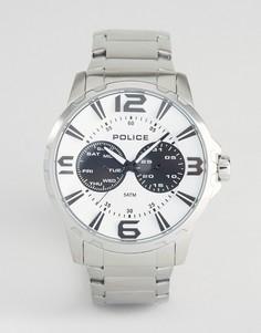 Мужские часы из нержавеющей стали с белым циферблатом Police Visionary - Серебряный