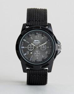 Черные часы с нейлоновым ремешком Slazenger - Черный