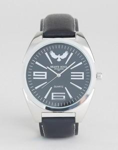 Черные часы с серебристым корпусом Brave Soul - Черный