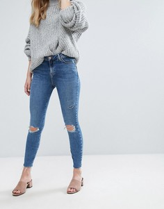 Моделирующие зауженные джинсы с необработанными краями New Look - Синий