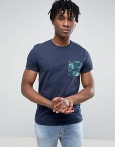 Темно-синяя классическая футболка с цветочным принтом на кармане Jack Wills Eddington - Темно-синий