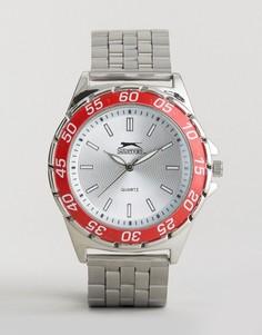 Серебристые часы с красным корпусом Slazenger - Серебряный