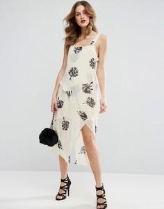 Платье миди на бретелях с цветочным принтом ASOS - Мульти