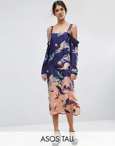 Платье с вырезами на плечах и принтом птиц ASOS TALL - Мульти