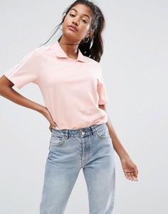 Розовая футболка с воротником поло и тремя полосками adidas Originals - Розовый