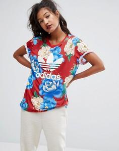 Футболка бойфренда с цветочным принтом adidas Originals Farm Big - Мульти