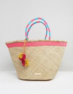Соломенная сумка-шоппер Carvela Penny - Розовый
