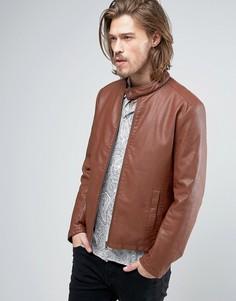 Коричневая байкерская куртка из искусственной кожи ASOS - Коричневый