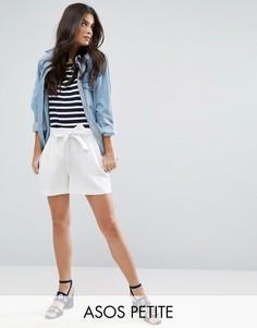 Льняные шорты с поясом ASOS PETITE - Белый