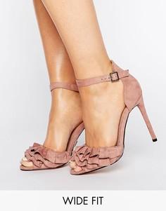 Босоножки на каблуке для широкой стопы с отделкой Lost Ink - Розовый