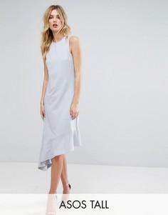 Платье миди асимметричной длины ASOS TALL - Серый