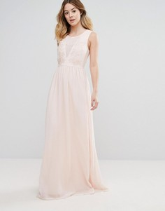 Платье макси с вышивкой из роз для подружки невесты Club L - Розовый