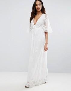 Платье макси с вышивкой и запахом спереди Club L - Белый