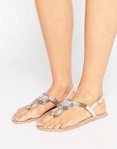 Телесные кожаные сандалии с декоративной отделкой Pieces Carmen - Бежевый