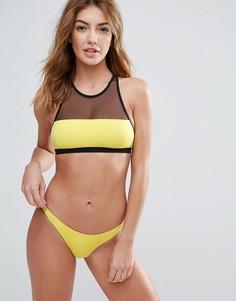 Купальник-бикини с высоким воротом и сетчатыми вставками Pistol Panties - Желтый