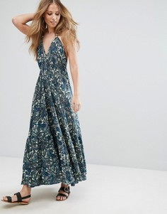 Платье-халтер макси с принтом пейсли Raga - Темно-синий