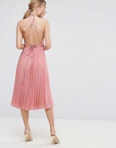 Плиссированное платье миди с запахом ASOS - Бежевый