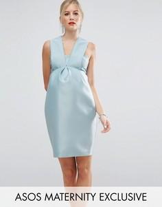 Платье со складкой спереди ASOS Maternity SALON - Зеленый