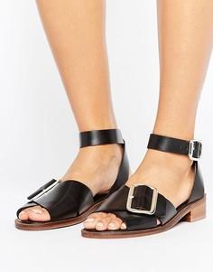 Кожаные сандалии на плоской подошве с пряжкой H by Hudson - Черный