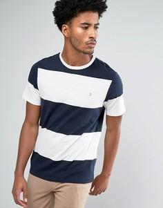 Темно-синяя футболка в стиле колор блок Farah Woolacombe - Темно-синий