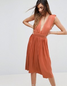 Платье миди с глубоким вырезом ASOS PREMIUM - Оранжевый
