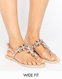 Кожаные сандалии для широкой стопы ASOS FAIRYTALE - Золотой