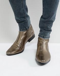 Золотистые ботинки челси ASOS - Золотой