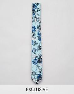 Узкий галстук с цветочным принтом Reclaimed Vintage - Бежевый