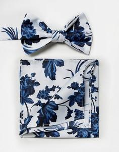 Галстук-бабочка и платок-паше голубого цвета с цветочным принтом ASOS WEDDING - Мульти