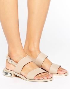 Кожаные сандалии с отделкой на каблуке Park Lane - Бежевый