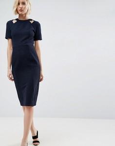Фактурное платье с вырезами ASOS - Темно-синий